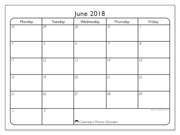 Calendar June 2018 (74MF). Free printable monthly calendar.