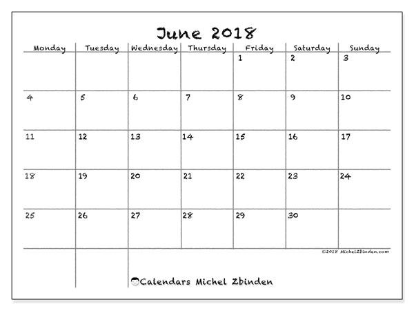 Calendar June 2018 (77MS)