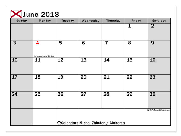 Calendar June 2018, with the holidays of Alabama. Free printable monthly calendar.