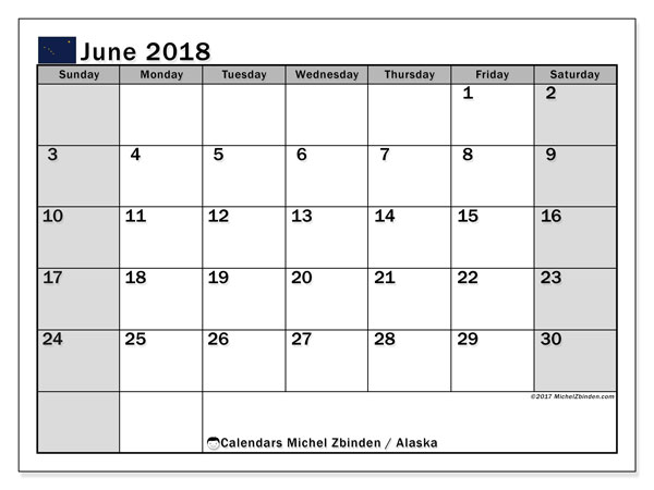 Calendar June 2018, with the holidays of Alaska. Planner to print free.