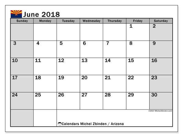 Calendar June 2018, with the holidays of Arizona. Free printable monthly calendar.