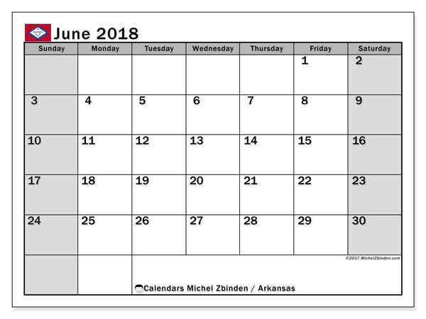 Calendar June 2018, with the holidays of Arkansas. Free printable monthly calendar.