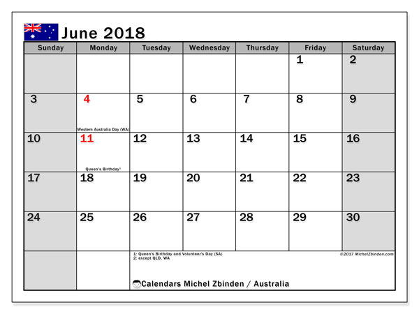 Calendar June 2018, with the holidays of Australia. Free planner to print.