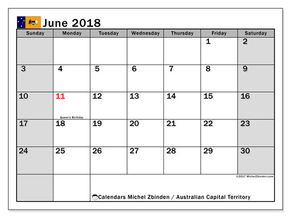 Calendar June 2018, with the holidays of Australian Capital Territory. Free printable planner.