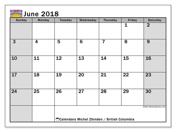 Calendar June 2018, with the holidays of British Columbia. Calendar to print free.