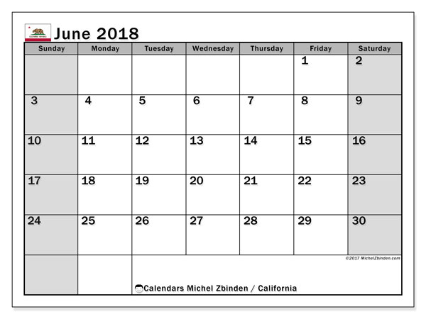 Calendar June 2018, with the holidays of California. Free printable planner.