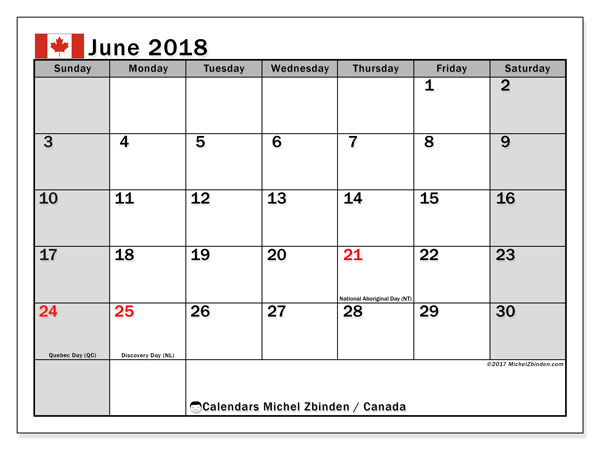 Calendar June 2018, with the holidays of Canada. Planner to print free.