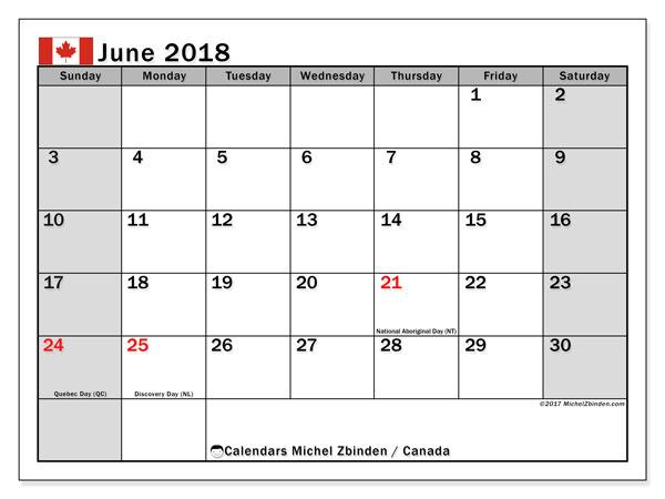 Calendar June 2018, Canada