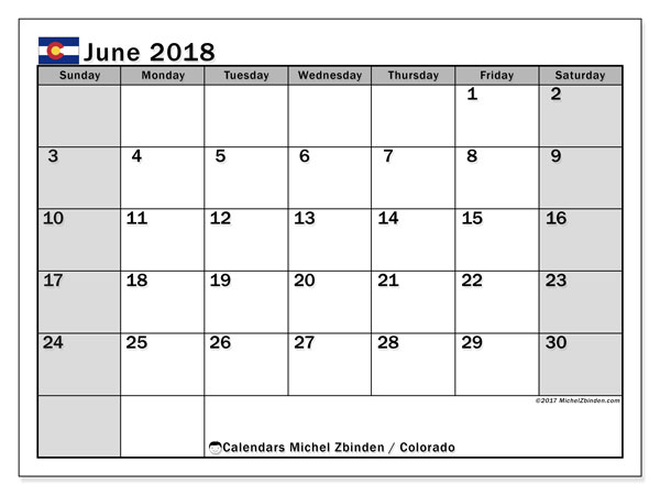 Calendar June 2018, with the holidays of Colorado. Free printable planner.