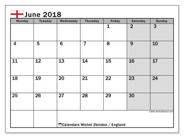 Calendar June 2018, with the holidays of England. Free calendar to print.