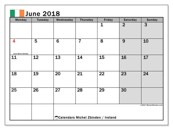 Calendar June 2018, with the holidays of Ireland. Free printable calendar.
