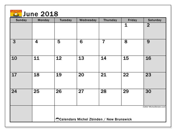 Calendar June 2018, with the holidays of New Brunswick. Bullet journal to print free.
