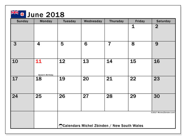 Calendar June 2018, with the holidays of New South Wales. Free printable planner.