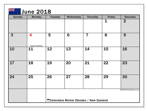 Calendar June 2018, with the holidays of New Zealand. Calendar to print free.