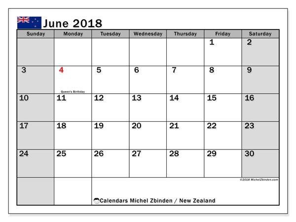 Calendar June 2018, New Zealand