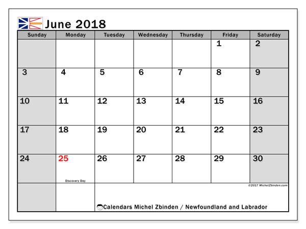Calendar June 2018, with the holidays of Newfoundland and Labrador. Calendar for the month to print free.