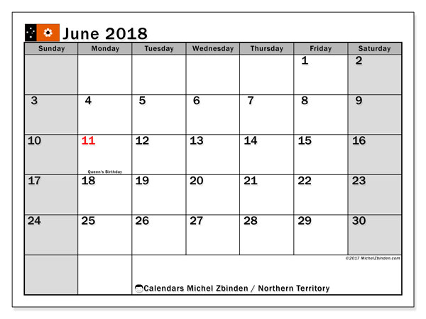Calendar June 2018, with the holidays of Northern Territory. Free printable calendar.