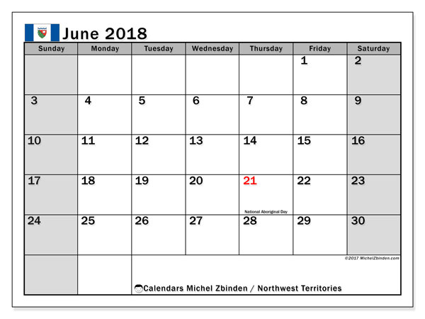 Calendar Northwest Territories, June 2018