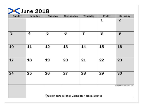 Calendar June 2018, with the holidays of Nova Scotia. Free printable monthly calendar.