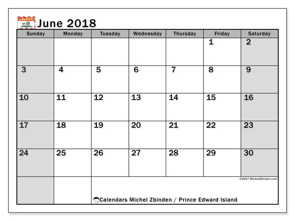 Calendar June 2018, with the holidays of Prince Edward Island. Free planner to print.