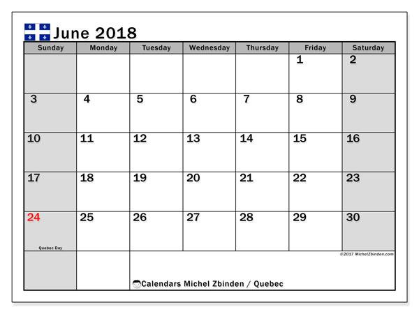 Calendar June 2018, with the holidays of Quebec. Calendar to print free.