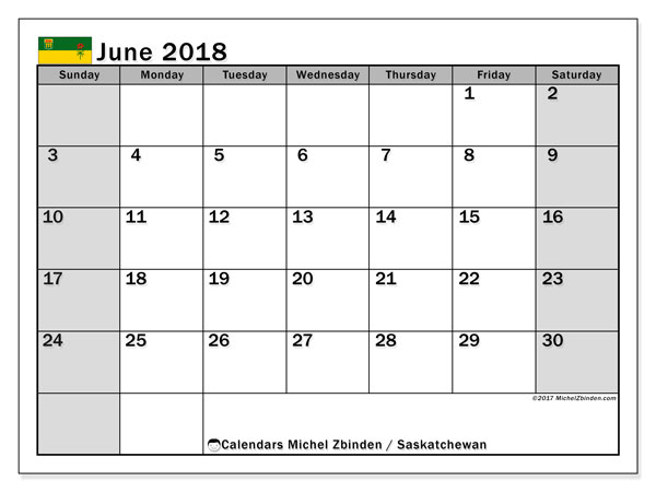 Calendar June 2018, with the holidays of Saskatchewan. Bullet journal to print free.
