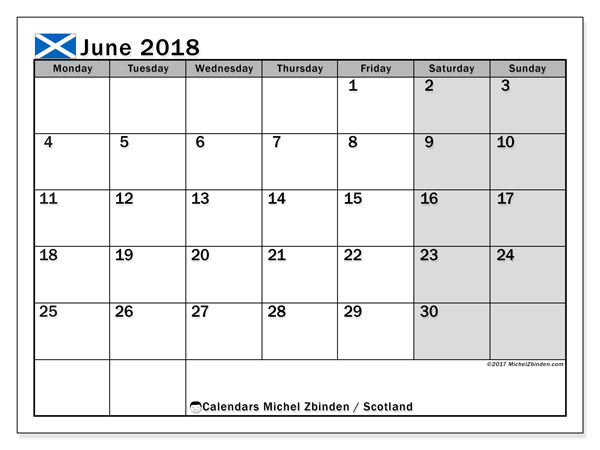 Free printable calendar June 2018, with the holidays of Scotland. Monthly calendar.