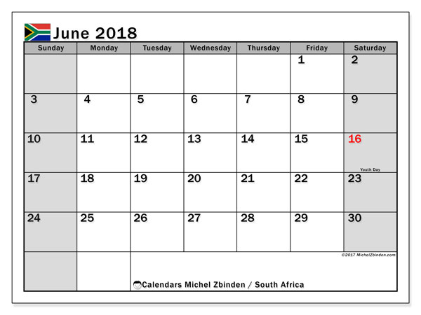 Calendar June 2018, with the holidays of South Africa. Free printable monthly planner.