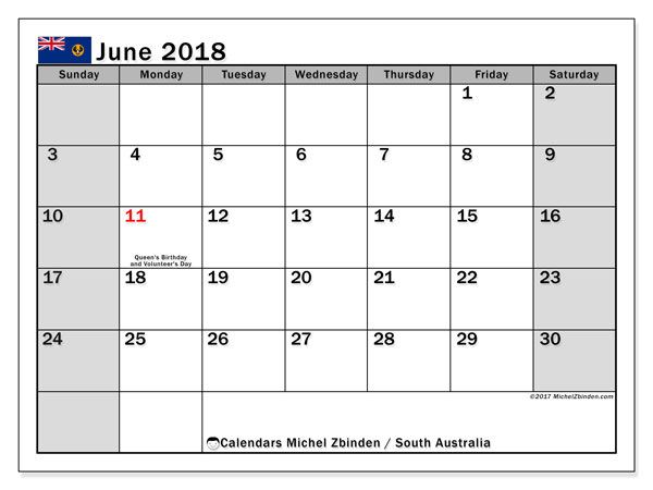 Calendar June 2018, with the holidays of South Australia. Free printable planner.