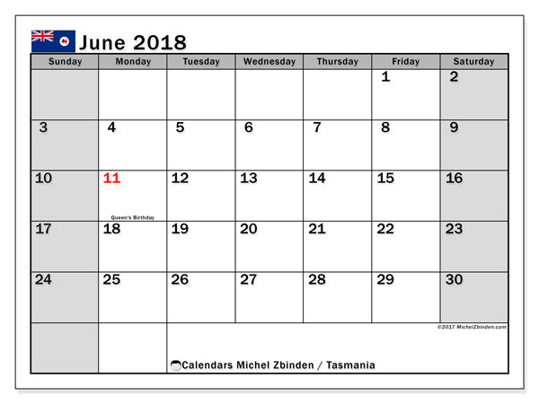 Calendar June 2018, with the holidays of Tasmania. Free printable monthly calendar.
