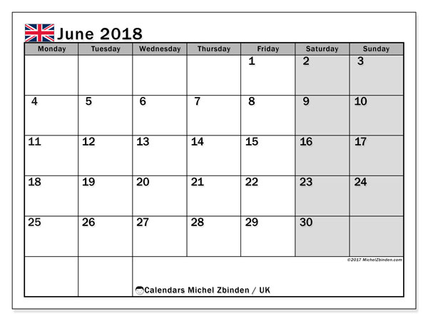 Free printable calendar June 2018, with holidays for the UK