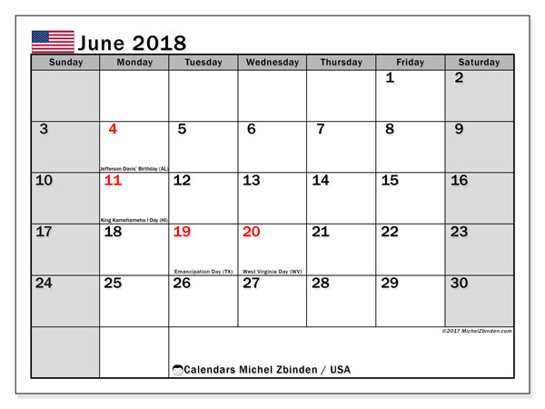 Calendar June 2018, with the holidays of the USA. Planner to print free.