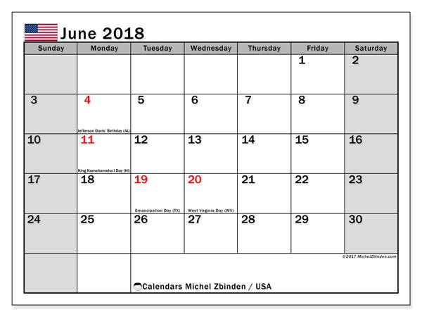 Calendar June 2018, USA