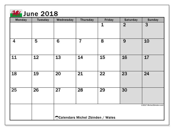 Free printable calendar June 2018, with the holidays of Wales. Monthly calendar