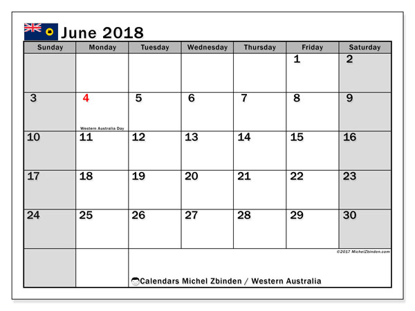 Calendar June 2018, with the holidays of Western Australia. Monthly planner to print free.