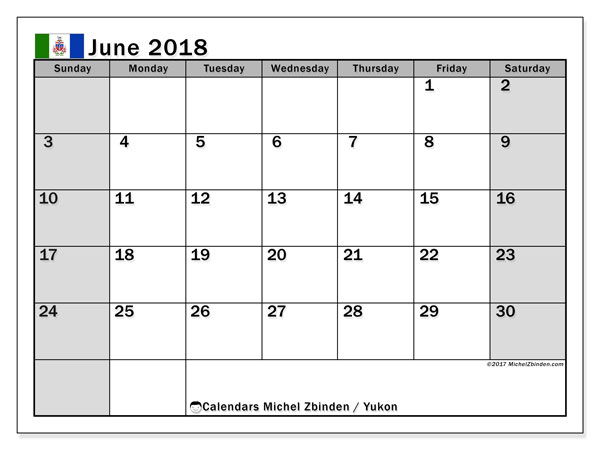 Calendar June 2018, with the holidays of Yukon. Calendar for the month to print free.