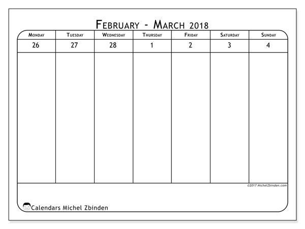 Calendar March 2018 (43-1MS). Free printable weekly planner.