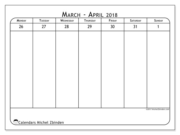 Calendar March 2018 (43-5MS). Weekly planner to print free.