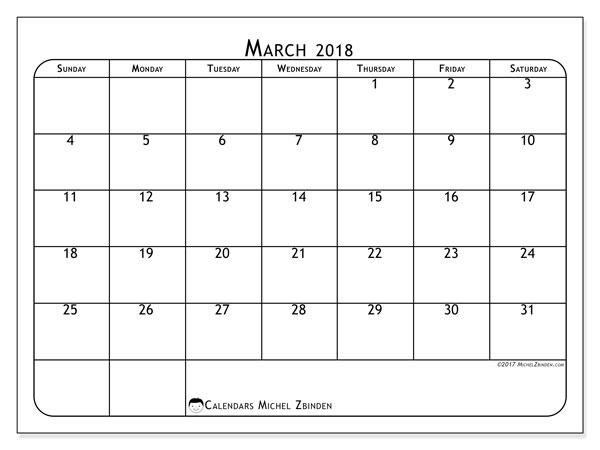 Calendar March 2018 (51SS). Monthly calendar to print free.