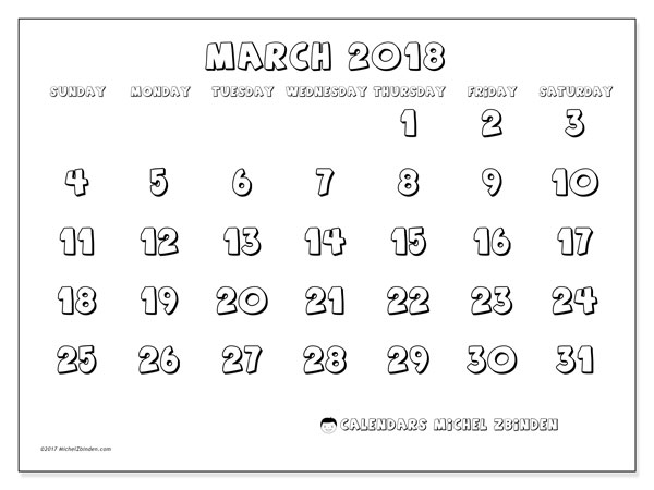 Calendar March 2018 (56SS). Monthly calendar to print free.