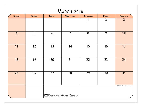 Calendar March 2018 (61SS). Planner to print free.