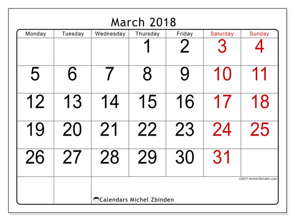 Calendar March 2018 (62MS). Free planner to print.