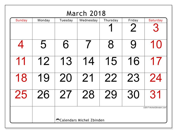 Calendar March 2018 (62SS). Free printable bullet journal.