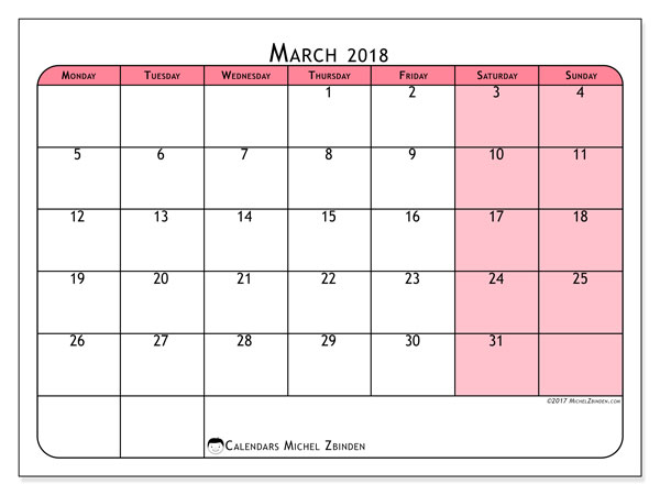 Calendar March 2018 (64MS). Monthly planner to print free.