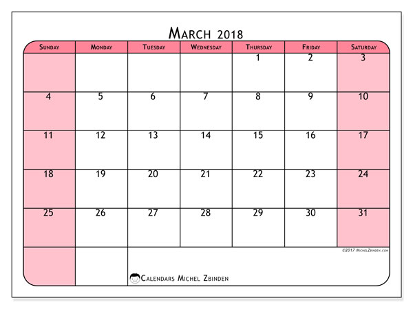 Calendar March 2018 (64SS). Free bullet journal to print.