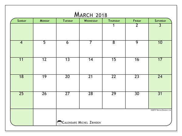 Calendar March 2018 (65SS). Free planner to print.