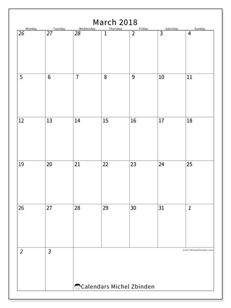 Calendar March 2018 (68MS). Free printable calendar.