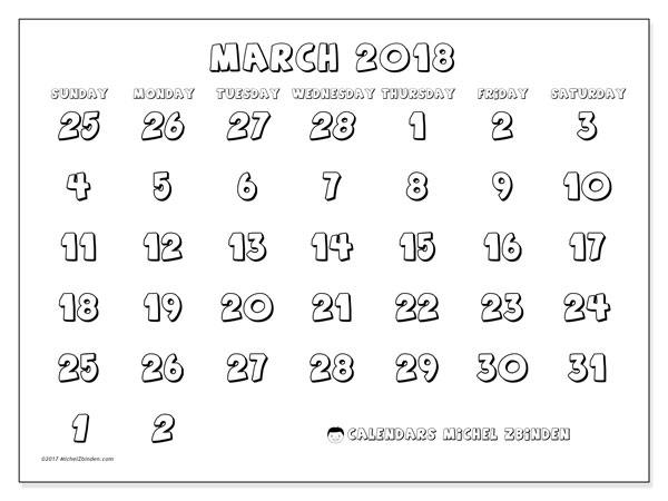 Calendar March 2018 (71SS). Free printable monthly planner.