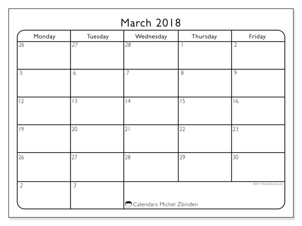 March 2018 Calendars (SS).  74MF.