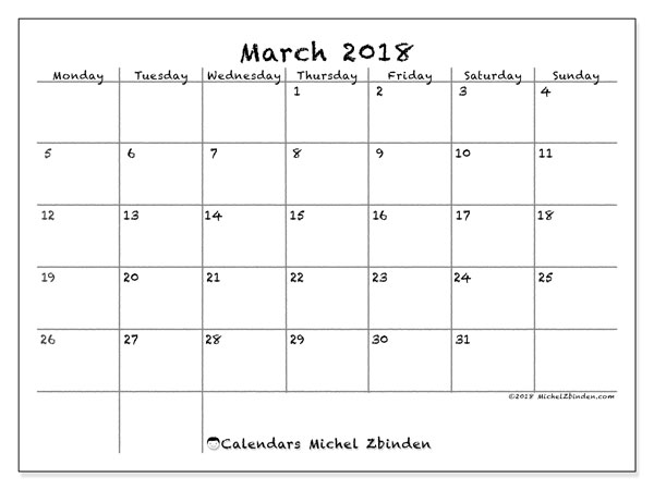 Calendar March 2018 (77MS). Monthly calendar to print free.